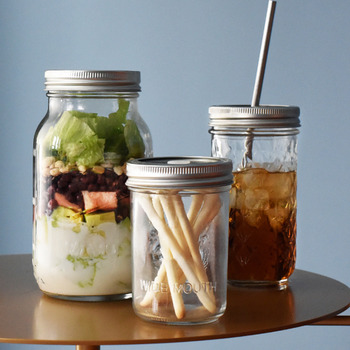 Mason Jar Glass Bottle with Lid Coffee Mug Fruit Saland Juice Sauce Camera Food Storage Container Sealed Tank Props Light Bottle image