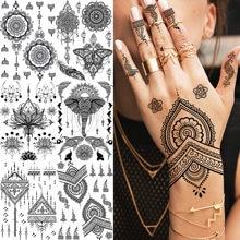 Etiqueta do tatoo da pena da pena da etiqueta do tatoo da flor do falso de mehndi da borboleta