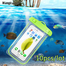 wangcangli 10pcs/lot Universal swim waterproof pouch cover fluorescent for iPhone 7 for xiaomi Mobile waterproof case cases Bag(China)