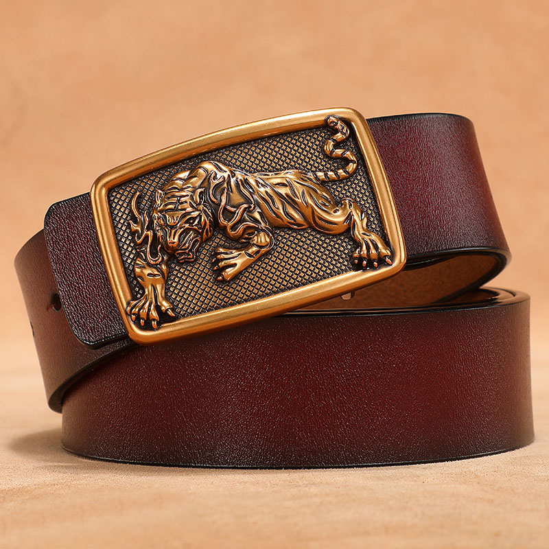 Silver Gold Tiger Animal Smooth Buckle Belt for Men Real Genuine Leather Cowskin Cowhide Plus Size 105 110 120 130cm 140cm 150cm