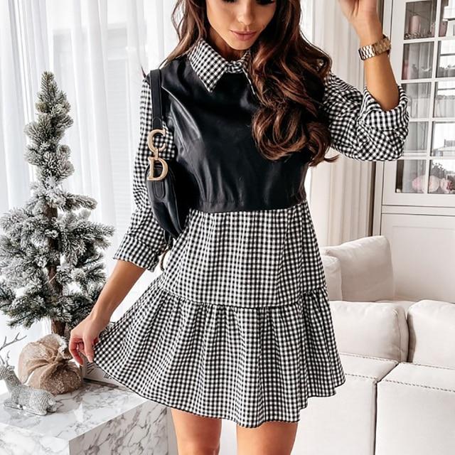 Women Plaid Dress Spring Fashion Long Sleeve PU Leather Patchwork Shirt Dress Turn-down Collar Office Lady Mini Dress Vestidos 5