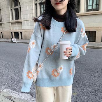 Loose Casual Flower Long Sleeve Sweater фото
