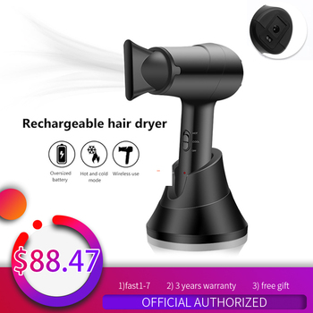 Professional Salon Hair Dryer Cordless Portable Hair Dryer Rechargeable Blow Dryer 2 in 1 Strong Wind Hot Hair Dryer Home Travel professional hair dryers light weighte blow dryer salon dryer hot