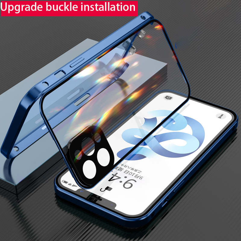 Metal 360 Cases For iphone 12 pro Max Case buckle installation Glass For iphone 12 mini case funda luxury coque cover phone case
