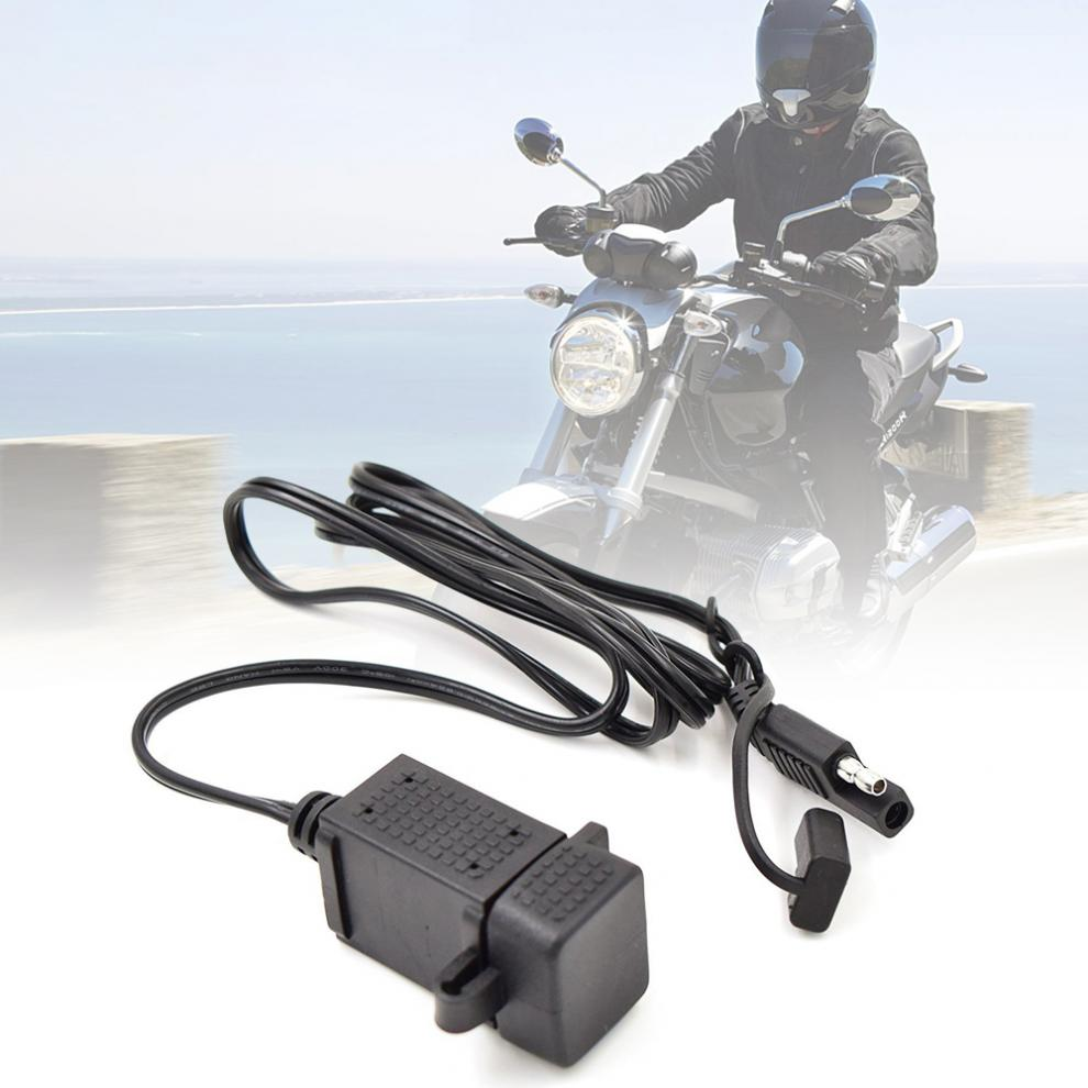 Super Durable 12V-24V 3.1A SAE Dual USB Cable Adapter Dual Port Power Socket Smart Phone Tablet GPS Charger For Motorcycle