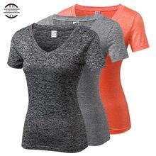Женские быстросохнущие футболки для йоги с длинным рукавом бодибилдинг спортивные компрессионные колготки спортивная форма женские футболки с v-образным вырезом 8 цветов