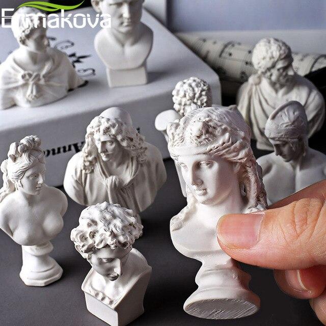 ERMAKOVA 10 Pcs/Set Different Plaster Bust Figurine Mini Ancient Greek Roman Mythology Figure Bust Sketch Statue Home Decoration 4