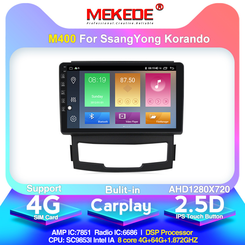 4G LTE Android10.0 4G+64G Car Multimedia GPS Navigation Radio Player For Ssangyong Korando 2011-2013 Built-in Carplay DSP IPS