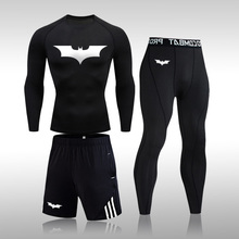 Men's Batman Sports Suit MMA Rashgard Male Quick Drying Sportswear Compression Clothing Fitness Training Kit Thermal Underwear