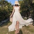 Vestido boho branco longo 2020 verão moda sem costas bandagem irregular plissado maxi vestido boêmio feminino férias praia vestido