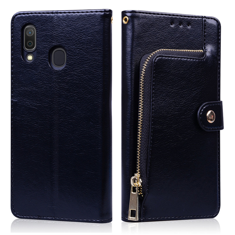 Luxury Magnetic Zipper Wallet Case For Samsung Galaxy A30 2019 Leather Flip Case For Samsung A30 A 30 A305 A305F Cover Coque