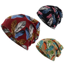 Women Feather Print Scarf Beanie Cap Casaul Outdoor Convertible Windproof Hats Simple Gorros For Winter Warm Female Cap(China)