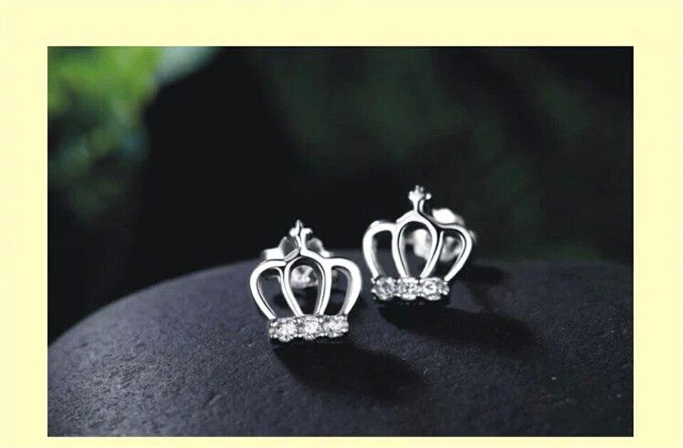 c PISSENLIT Simple Women Jewelry Statement Silver Crown Stud Earrings pendientes mujer moda 2019 Metal Grace Stud Earring Gifts