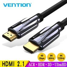 Vention สาย HDMI 2.1 8K @ 60Hz ความเร็วสูง 48Gbps HDMI สำหรับ Apple TV PS4 ความละเอียดสูงสายเชื่อมต่อมัลติมีเดีย HDMI 3 M