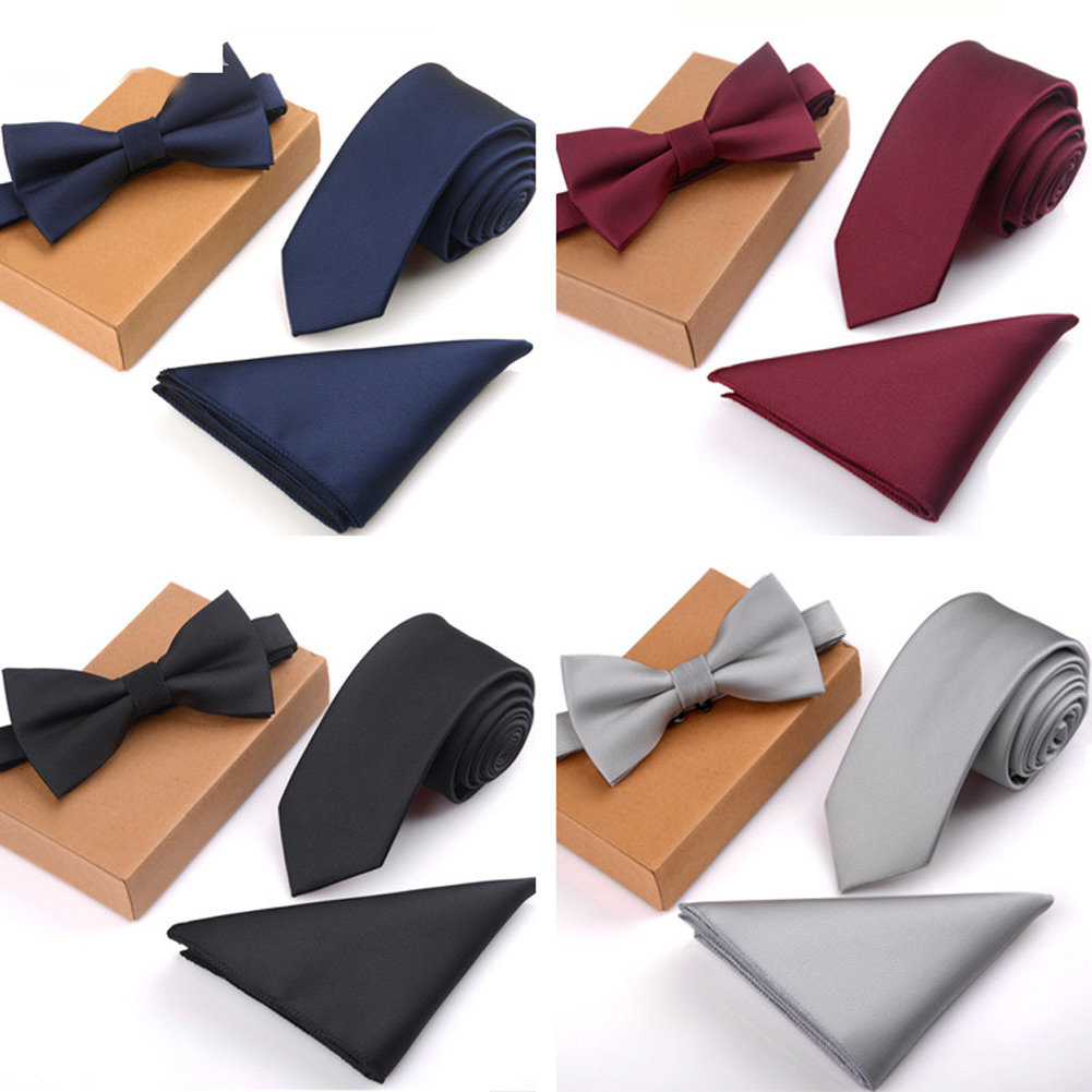 3 Pcs/Set Men Slim Tie Set Bow Tie Pocket Square Handkerchief + Bowtie + Necktie Kit Men's Gifts SER88