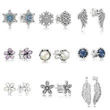 Authentic 925 Sterling Silver Earrings Blue Snowflake Leaf Flower With Pearl Cz Earring For Women Wedding Party Jewelry