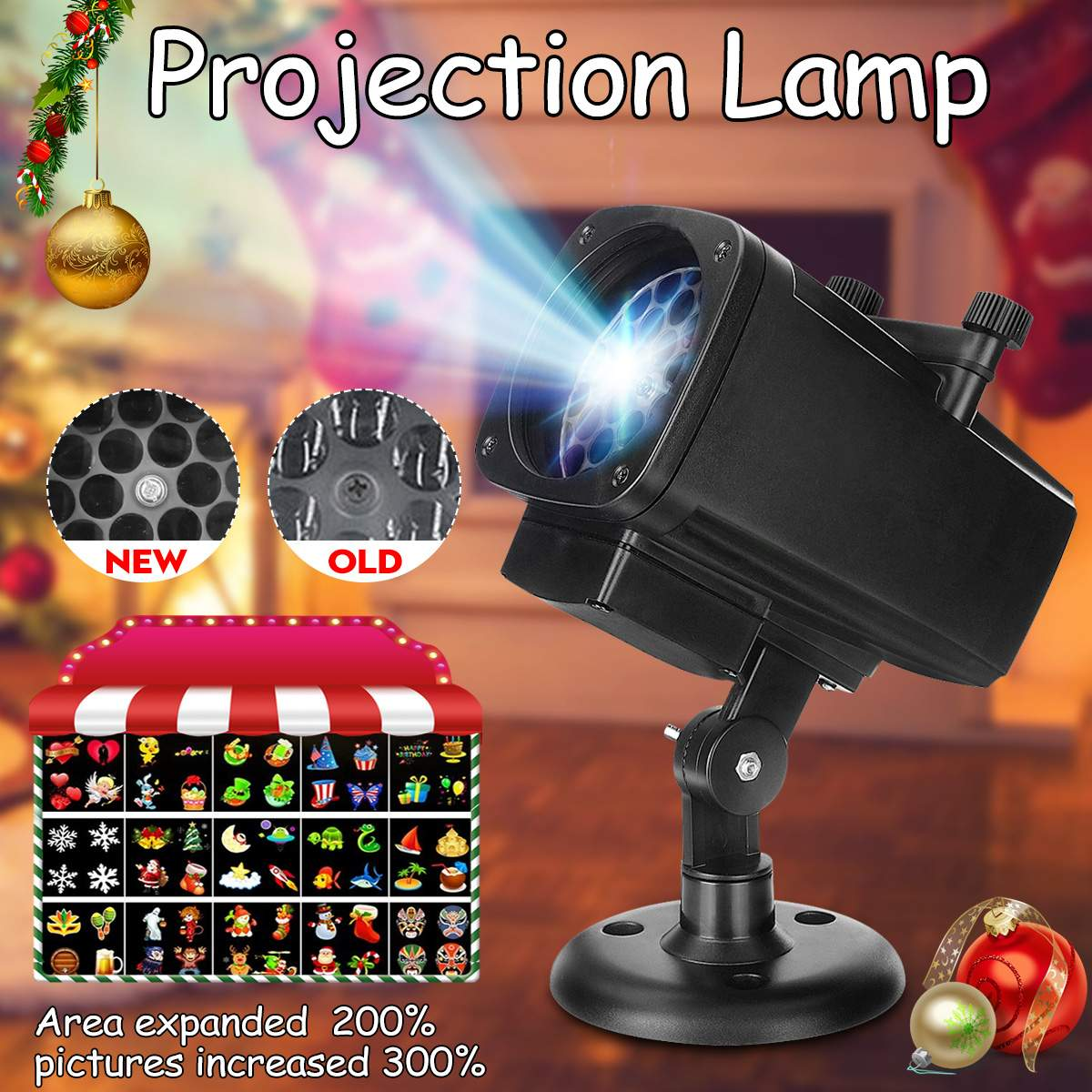 Merry Christmas Snowflake Projector Spotlight 12 Pattern Projector Lamp LED Landscape Light For Halloween Party Waterproof