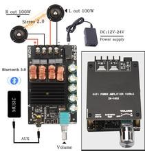 Hifidiy live placa de amplificador, placa de amplificador digital com bluetooth 5.0 aux tpa3116, alto-falante estéreo 2x50w 100w módulo casa música 502c