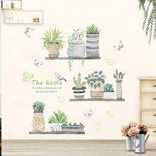 Autocollants muraux de fleurs bonsaï plantes en pot de jardin pour décoration de maison salon cuisine PVC bricolage Stickers muraux décoration de salle murale