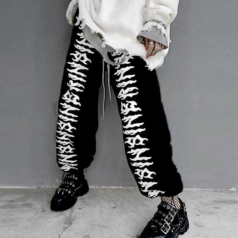 NiceMix high waist pants straight pockets print elastic waist streetwear style autumn new full length ins loose Capris Women's C