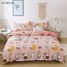 Bedspread Kids Bedding-Set Duvet-Cover-Set Bed-Sheet Bunny Family Pillowcase Pink Double-Queen