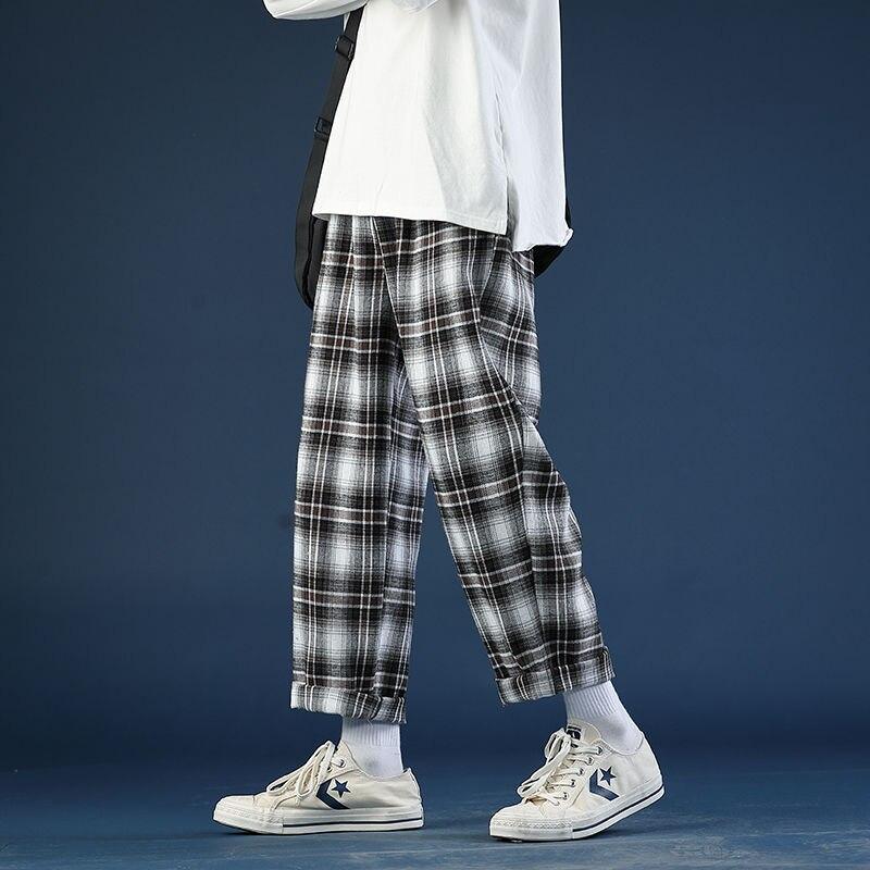 Primavera verão fino xadrez calças masculinas moda retro casual calças masculinas streetwear selvagem solto drawstring calças retas dos homens