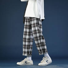 İlkbahar yaz ince ekose pantolon erkek moda Retro rahat pantolon erkekler Streetwear vahşi gevşek İpli düz pantolon erkek