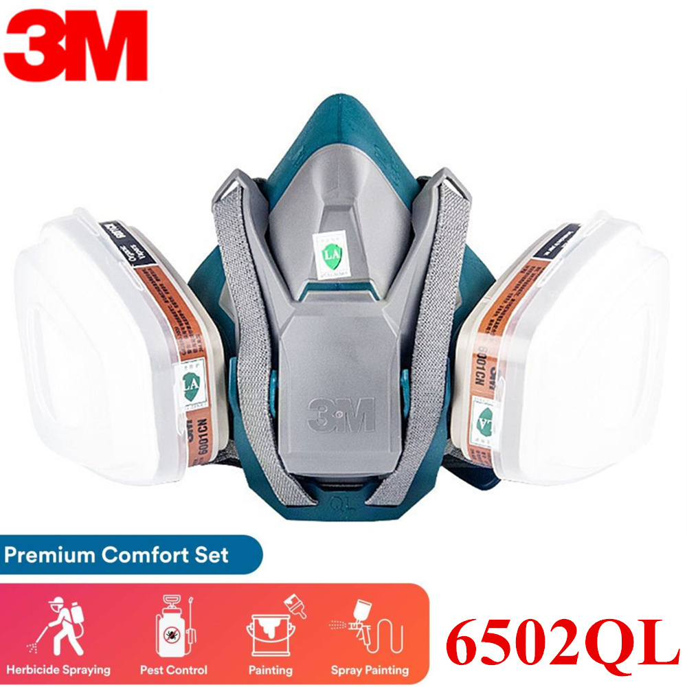 3M 6502QL 7In1 Reusable Respirator Premium Comfort Quick Latch Half Facepiece Organic Vapor Cartridge Gas Mask Suit