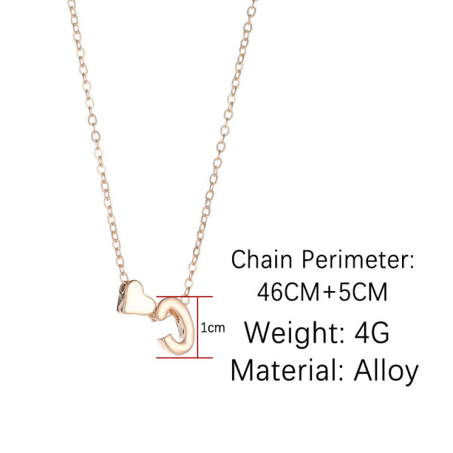 Tiny Heart & Initial Letter Necklace 2
