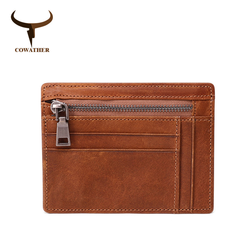 COWATHER Top Cow Genuine Leather Wallet For Men Card Holder Purse Fashion Design Cowhide Male Wallet Zipper Purse Free Shipping