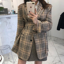 Autumn Classic Wild Lapel Check Single-breasted Straps Waist Slimming Woolen Jacket Female