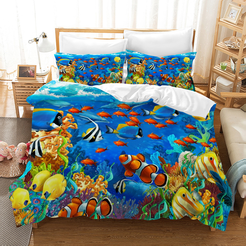 3D Outer Space Themed Bedding Sets 2//3//4 pcs Duvet Cover Bed Sheet Pillow Cases