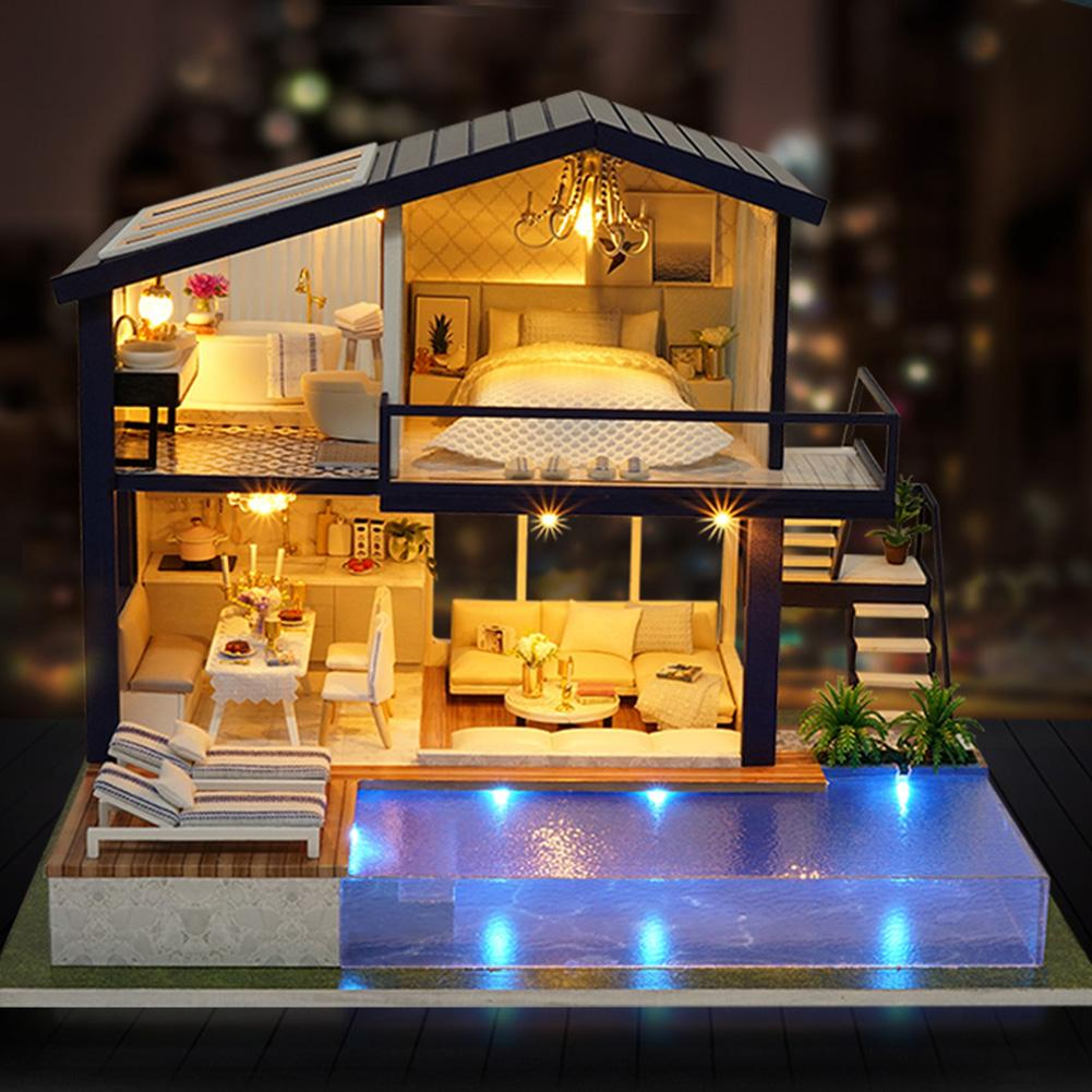 DIY DollHouse Miniature House Doll House With Pool Wooden Manual Assembly Home Decoration Holiday Birthday Gift