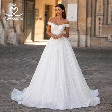 SWANSKIRT sevgiliye saten düğün elbisesi moda 2 In 1 kollu A Line kristal kemer prenses Vestido de novia I303 gelin kıyafeti