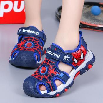 Chłopięce sandały nowe letnie dziecięce buty na plażę dziecięce buty kreskówka Spiderman buty dla chłopców sandały niemowlęce miękkie maluch sandały dziecięce tanie i dobre opinie Disney RUBBER 25-36m 7-12y 12 + y CN (pochodzenie) Lato GLADIATORKI Chłopcy oddychająca Miękka skóra Płaskie obcasy