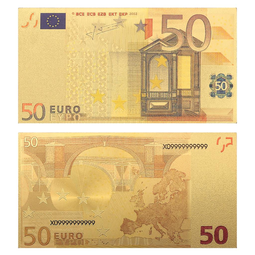 <font><b>BankNote</b></font> Europe Gold <font><b>Banknotes</b></font> 10 20 <font><b>50</b></font> 100 200 500 <font><b>Euro</b></font> <font><b>Banknotes</b></font> 24k Gold Foil Plated <font><b>Fake</b></font> Money for Collection Pack of 10pc image
