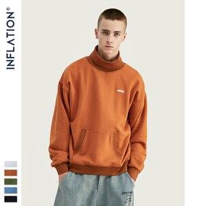 Image 5 - אינפלציה בסיסי גברים גבוהה צווארון סווטשירט טהור צבע גברים של סווטשירט עם פאוץ כיס Loose Fit Mens סתיו סווטשירט 9620W