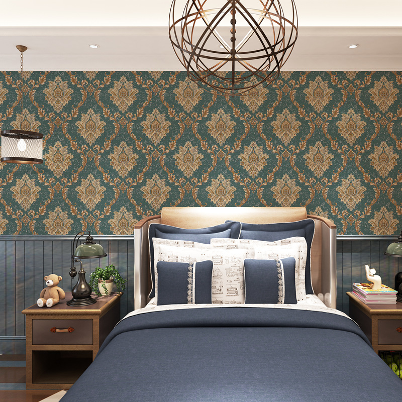 New Style European Style Damascus Dark Green Wallpaper Living Room Bedroom Wall American Vintage Wallpaper