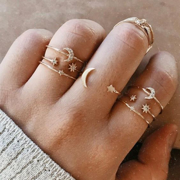 Vintage Gold Color Crystal  Star Moon Rings Set For Women Boho Knuckle Finger Ring Female Fashion Jewelry Accessories 2020 New 2