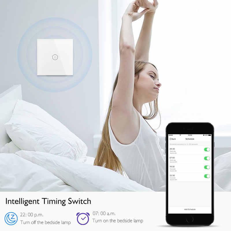 WIFI inteligentne przełączniki dotykowe bezprzewodowy pilot zdalnego sterowania światła ściany, na On/Off przełącznik wodoodporny szklany Panel alexa amazon kompatybilny ifttt