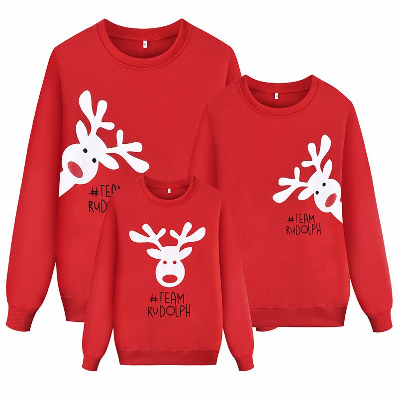 Long Sleeve Mommy And Me Sweatshirt Family Matching Clothes 2019 New Christmas Mom Dad Daughter Son Sweater Tops Autumn Clothing