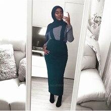 Muslim Skirt Abaya Islamic Clothing Kaftan-Bottoms Hijab Turkish Dresses Party-Wear Hign-Waist