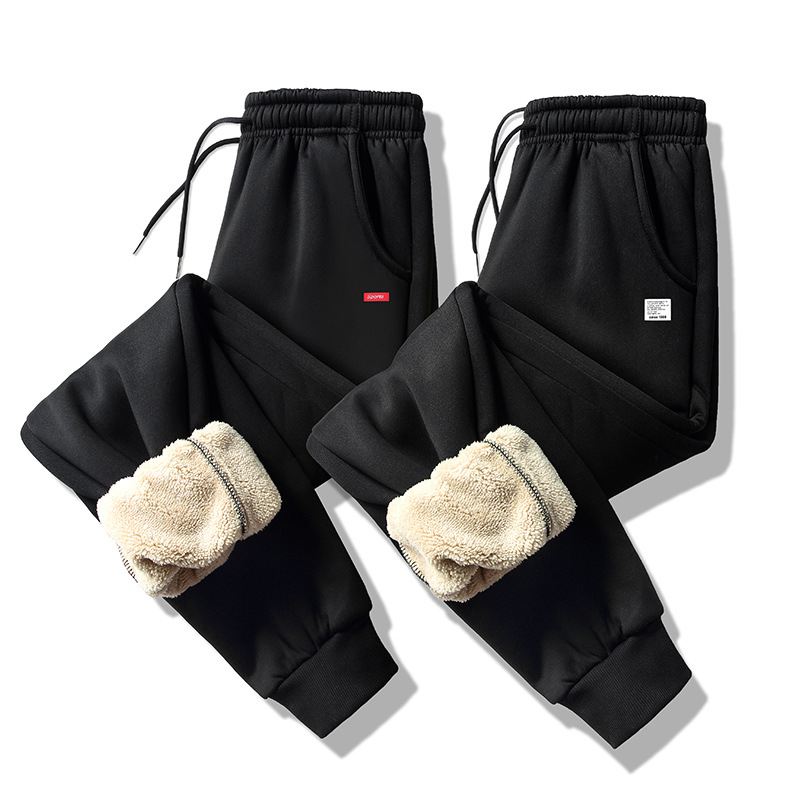 ZUSIGEL Plus Size Winter Pants Cashmere Thicken Fleece Casual Mens Sweat Pants Drawstring Outdoor Sport Warm Men's Pants Trouser