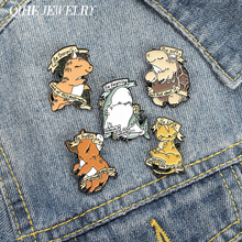 QIHE Jewelry Calm Meditating Animal Enamel Pins Positive Banner Brooches Badges Fashion Cartoon Pin Gifts for Friends Wholesale