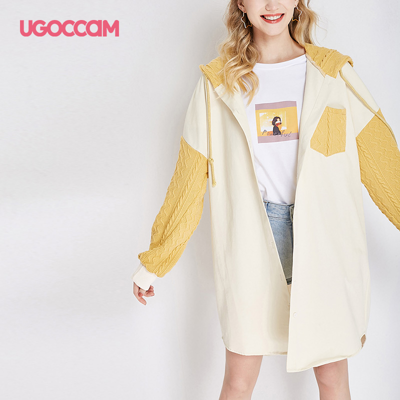 UGOCCAM Hooded Coat Yellow Women Coat Trench Oversize Splice Knitted Winter Windproof With Waistband Fashion Outwear Outdoor 9