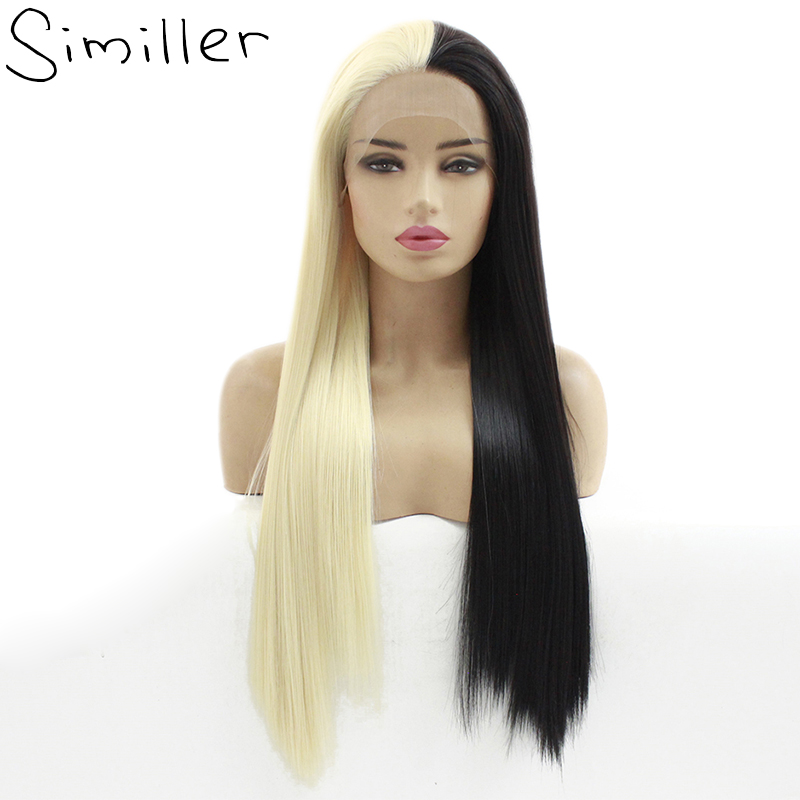 Similler Half Black Blonde White Hand Tied Straight Wigs Heat Resistance Synthetic Lace Front Wig For Women Cosplay Free Part
