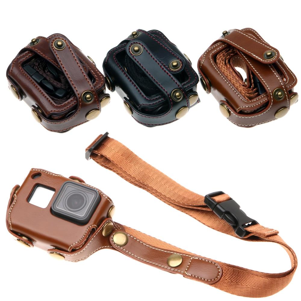 PU Protective Holster Camera Case Bag With Shoulder Strap Neck Lanyard Sling For Gopro Hero 7 6 5 Hero7 Hero6 Hero5