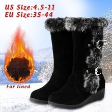 Winter Woman Mid-calf Boots Female Ankle Chelsea Boots Thick Plush non-slip Thigh High Boots Fashion Warm Fur Woman Snow Shoes