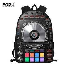 FORUDESIGNS Women Backpack Punk DJ Music Printing Backpacks for Teenager Girls and Boys Record Player Design Mochila Feminina