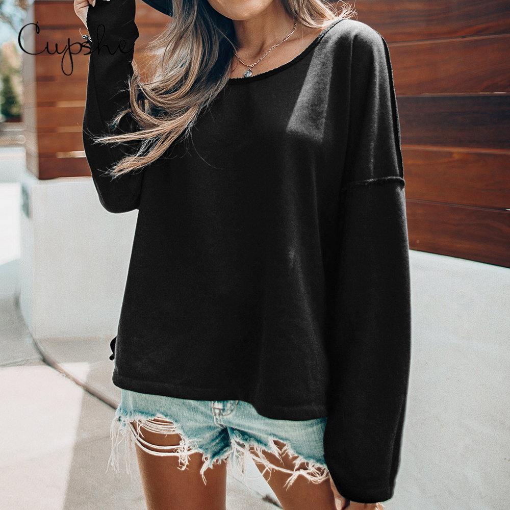 CUPSHE Black Loose Fit Top Long Sleeve Sweatshirt Women Round Neck Top Clothing 2020 Spring Autumn Casual Pullover
